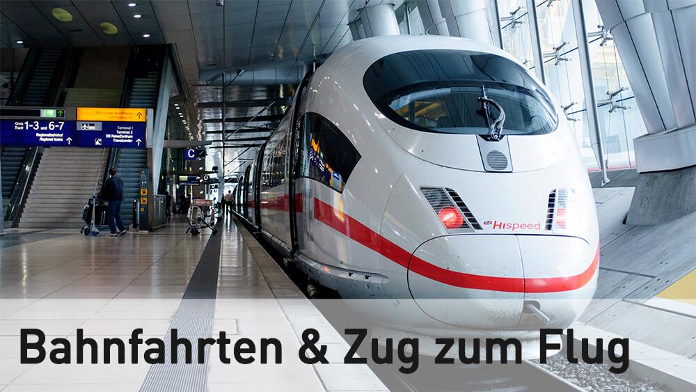 Link zu allen Fragen rund um Bahnfahrten und Zug zum Flug